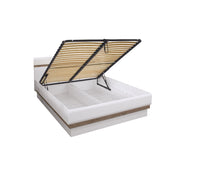 Lionel European King Size Bed Frame With Ottoman Storage in White Gloss and Truffle Sonoma Oak Colour