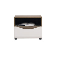Lionel Bedside Table in Truffle Sonoma Oak and White Gloss Colour