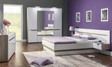 Lionel European Double Size Bed Frame With Ottoman Storage in Truffle Sonoma Oak and White Gloss Colour