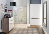 Lionel 2 Door Wardrobe in Truffle Sonoma Oak and White Gloss Colour