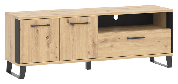 Loft Tv unit artisan oak colour with black details