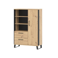 Loft cabinet in artisan oak colour with black details