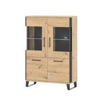 Loft glass door display unit with LEDs light in artisan oak colour with black details