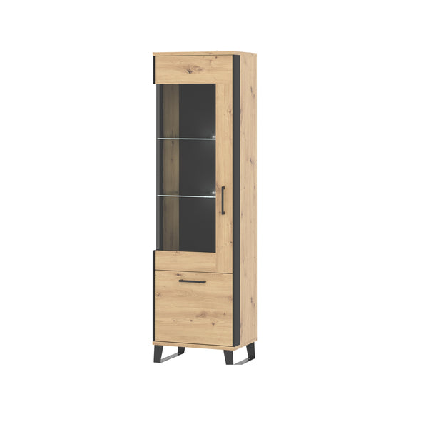 Loft glass door display unit (left side) in artisan oak colour with black details