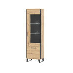 Loft  glass door display unit ( right side) in artisan oak colour with black details