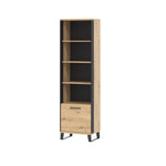 Loft bookstand in artisan oak colour with black details