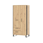 Loft 2 door wardrobe in artisan oak colour with black details