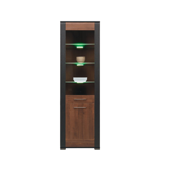 Naomi Glass Door Display Unit in Walnut and Wenge Colour