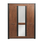 Naomi 3-Door Wardrobe in Walnut and Wenge Colour