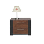 Naomi Bedside Table In Walnut and Wenge Colour