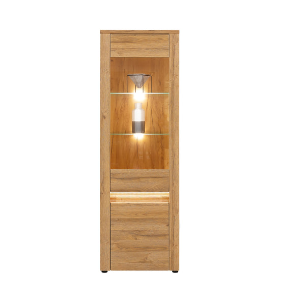 Sandy Tall Display Unit With LED lights in Grandson Oak Colour (Left/Right)