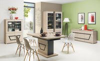 Tes Glass Door Display Unit in Elm Matt Colour (Left)
