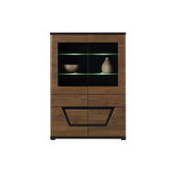 Tes Glass Door Display Unit in Walnut Colour