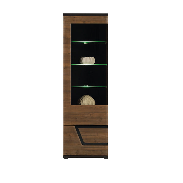 Tes Glass Door Display Unit in Walnut Colour (Left)