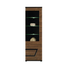 Tes Glass Door Display Unit in Walnut Colour (Right)