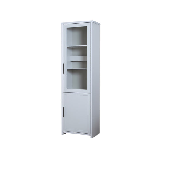 Jasper tall glass door display cabinet in light grey colour