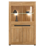 York Oak & Graphite Glass- Doors Display Cabinet With LED Lights