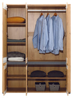 York Oak & Graphite Three-Door Wardrobe With Mirror