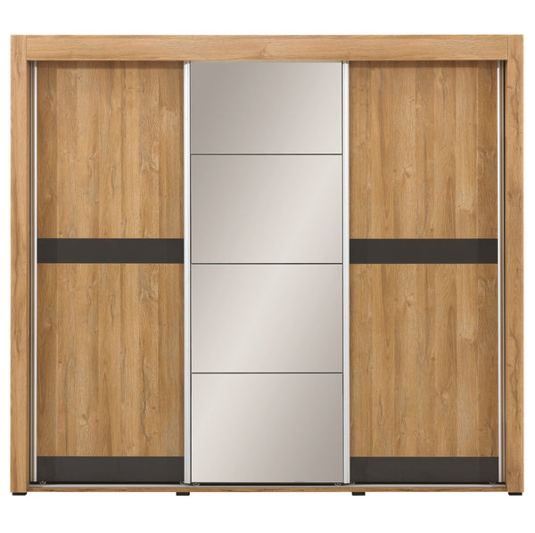 York Oak & Graphite Three Sliding Door Wardrobe With Mirror And LED Lights