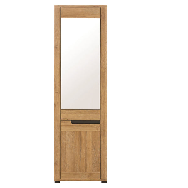 York Oak & Graphite Tall Cabinet With Mirror L/R
