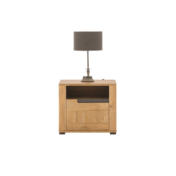 York Bedside Table with a Drawer in Grandson Oak (Left)