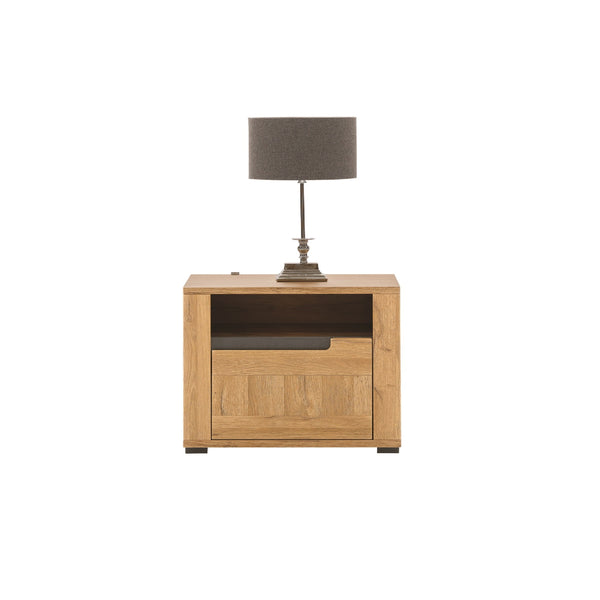 York Bedside Table with a Drawer in Grandson Oak (Right)