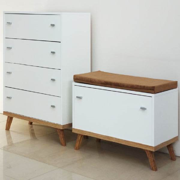 Falco storage unit with pillow in white & oak colour