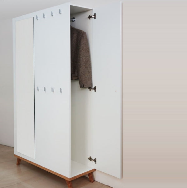 Falco hallway wardrobe with mirror in white and oak colour
