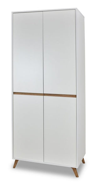 Trend  2-door wardrobe in white and gold oak colour
