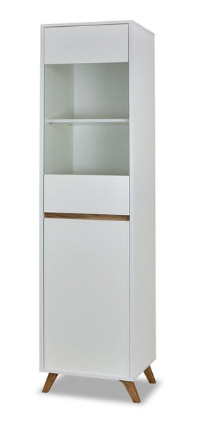 Trend tall display cabinet in white and gold oak colour