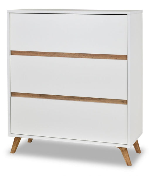 Trend chest of drawer in white and golden oak colour