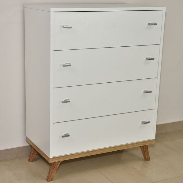 Falco 4-drawers chest of drawer in white & oak colour