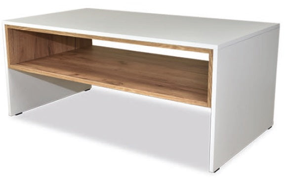 Trend coffee table with shelf in white and gold oak colour