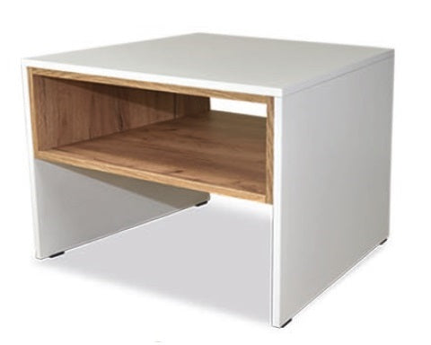 Trend small coffee table with shelf in white and gold oak colour