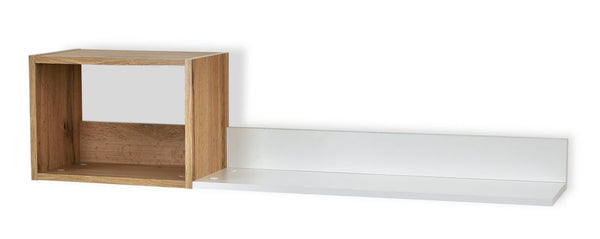 Trend wall mounted shelf in white and gold oak colour
