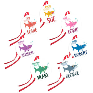 Christmas Ornaments Shark Family of 7