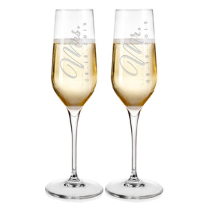 Champagne Flutes For Wedding Laser engraved  Design 2