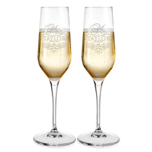 Load image into Gallery viewer, Champagne Flutes For Wedding Laser engraved  Design 6