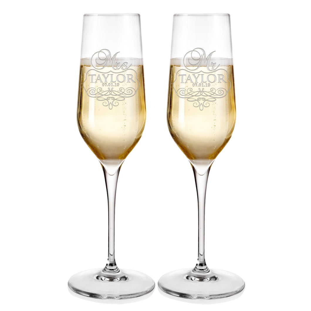 Champagne Flutes For Wedding Laser engraved  Design 6