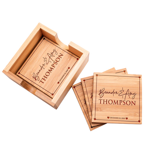 Wood coaster D1 Set of 4