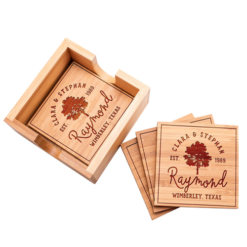 Wood Coaster  D4 Set of 4