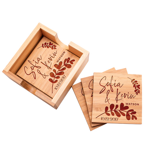 wood Coaster D5 Set of 4