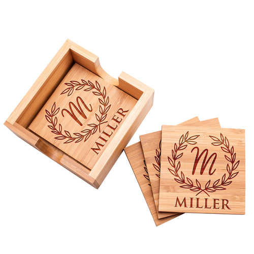 Wood Coaster D6 Set of 4