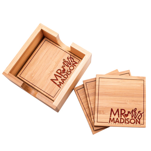 Wood Coaster D7 Set of 4