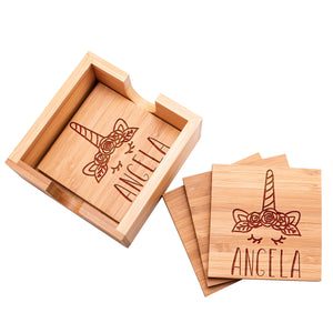Wood Coaster D8 Set of 4