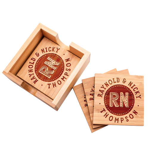 Wood Coaster D9 Set of 4