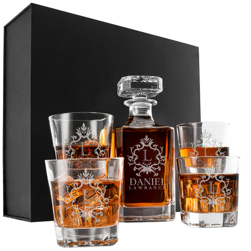 Whiskey Decanter and 4 Glasses  Set Design 1