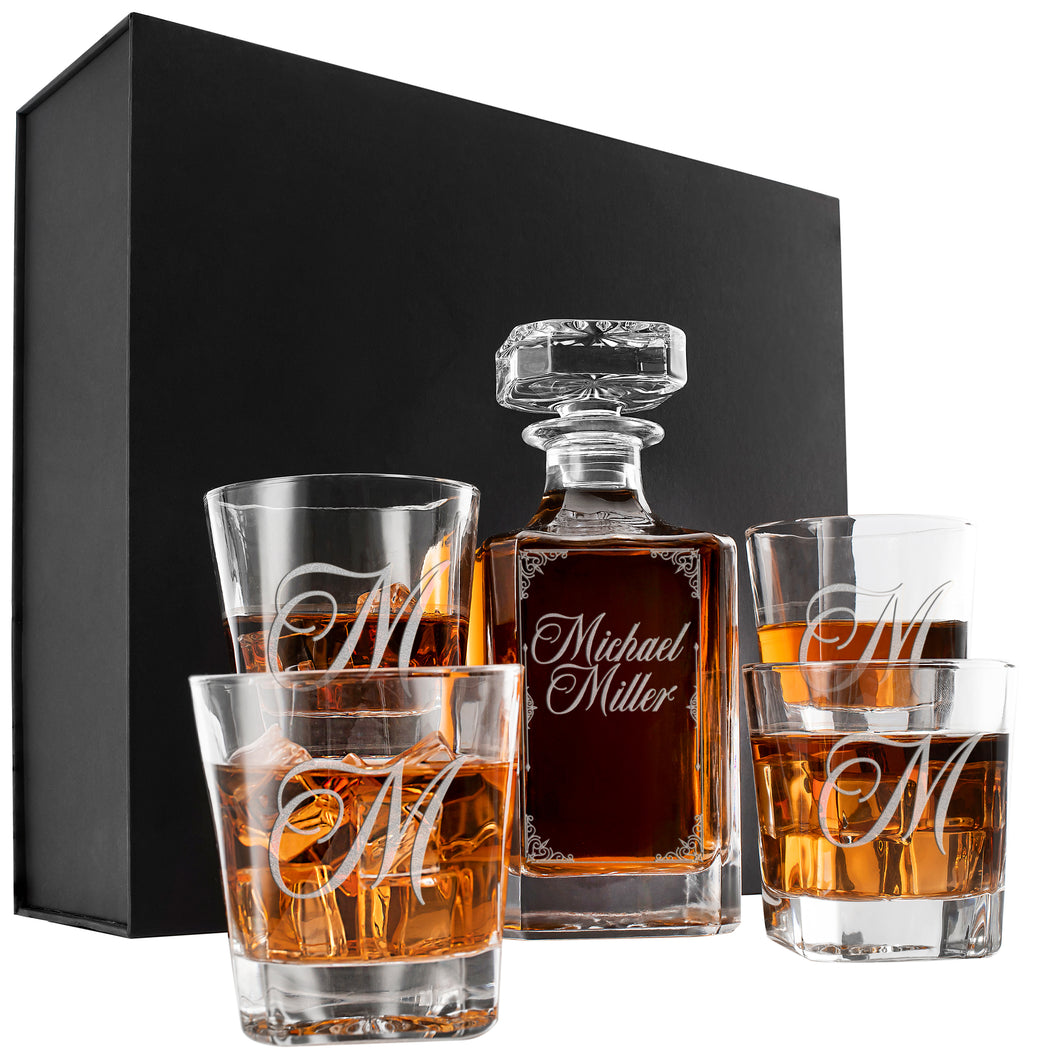 Whiskey Decanter and 4 Glasses  Set Design 5