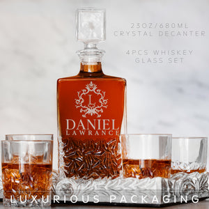 Whiskey Decanter and 4 Glasses  Set Design 6