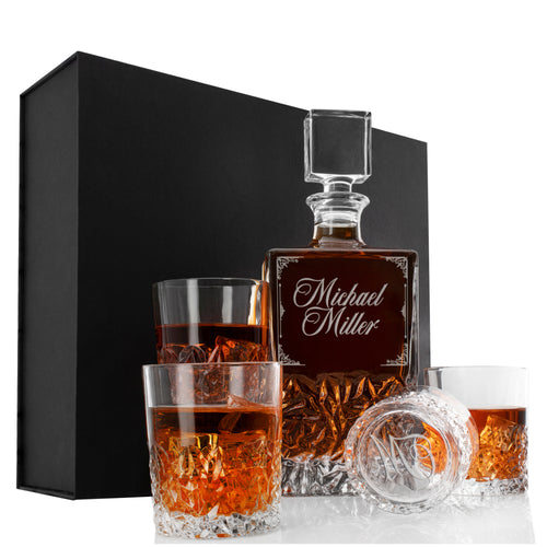 Whiskey Decanter and 4 Glasses  Set Design 10